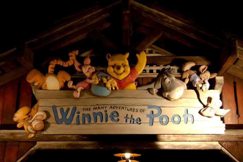 Winnie The Pooh Sign after dark