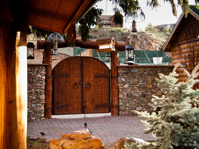 Massive wood and iron gate entry.