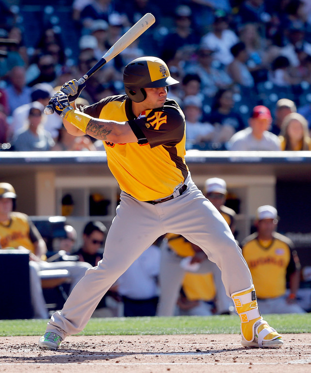 . World Team\'s Gary Sanchez, of the New York Yankees, hits against the U.S. Team during the third inning of the All-Star Futures baseball game, Sunday, July 10, 2016, in San Diego. (AP Photo/Lenny Ignelzi)