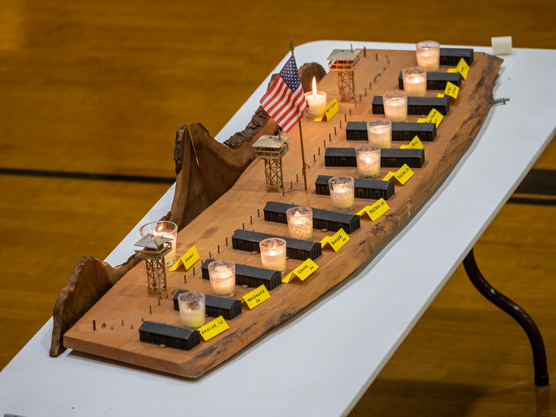The tableau with candles, memorializing all the WWII internment camps.