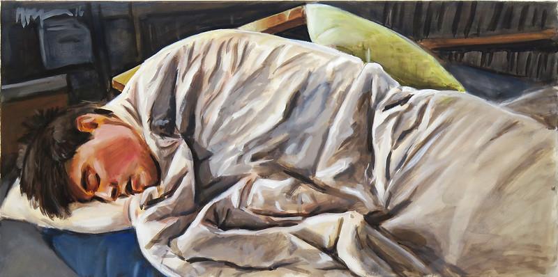 Sleeper (on futon); oil on canvas, 18 x 36 in, 2016