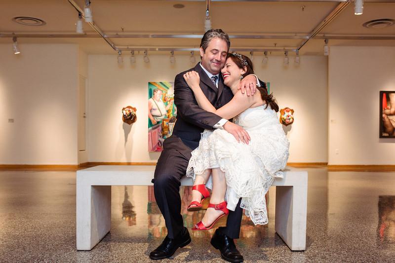 Bride and Groom Summer Wedding Indoor Art Gallery Portraits