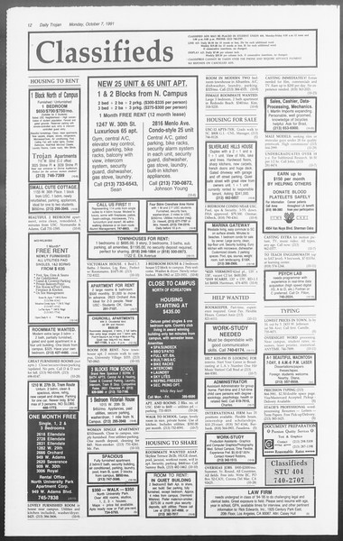 Daily Trojan, Vol. 116, No. 25, October 07, 1991