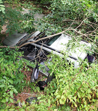 SUV, Up Hill, into Trees, SR54, Ryan Township (8-24-2013)