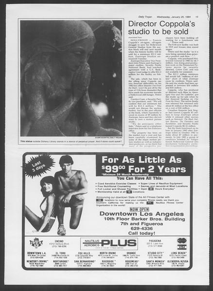 Daily Trojan, Vol. 95, No. 12, January 25, 1984
