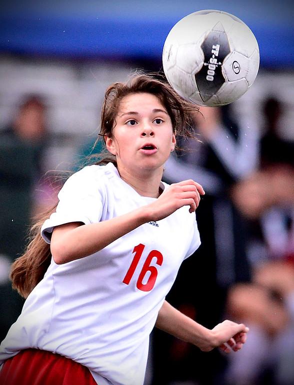 . Sierra Vista\'s Kimberly Araujo (19) drives the ball towards the net as Camarillo defeats Sierra Vista 3-1 in a quarterfinal game at Sierra Vista High School in Baldwin Park, February 28, 2014. (Photo by Sarah Reingewirtz/Pasadena Star-News)