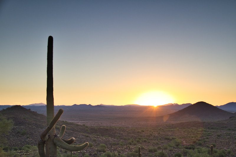 Arizona Desert Sunrise with a Clear Blue Sky