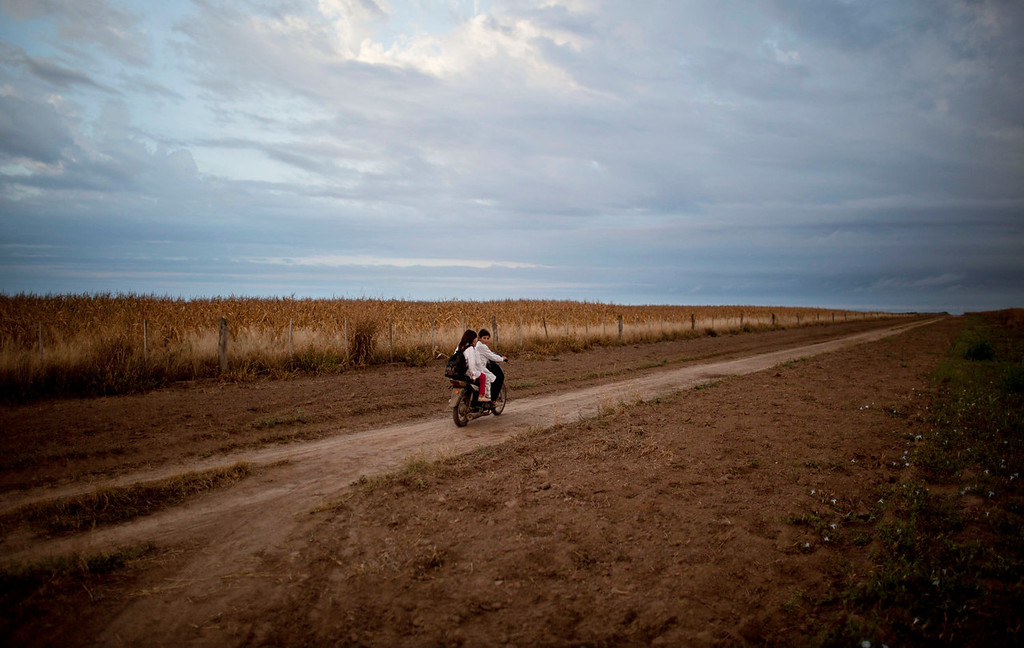 . Students ride a motorbike past a field of biotech corn on their way to school in Pozo del Toba, Santiago del Estero province, Argentina on May 3, 2013. American biotechnology has turned Argentina into a commodities powerhouse, but the chemicals required aren\'t confined to the fields, they routinely contaminate homes, classrooms and drinking water. Now a growing chorus of doctors and scientists is warning that uncontrolled spraying could be causing the health problems turning up in hospitals across the South American nation. (AP Photo/Natacha Pisarenko)