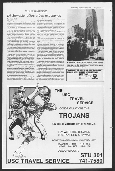 Daily Trojan, Vol. 75, No. 7, September 27, 1978