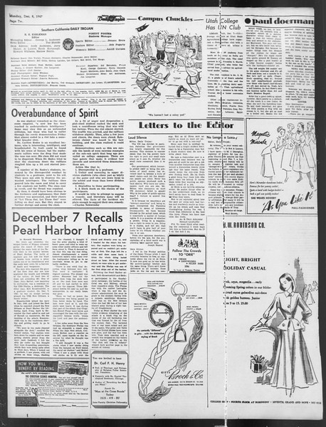 Daily Trojan, Vol. 39, No. 58, December 08, 1947