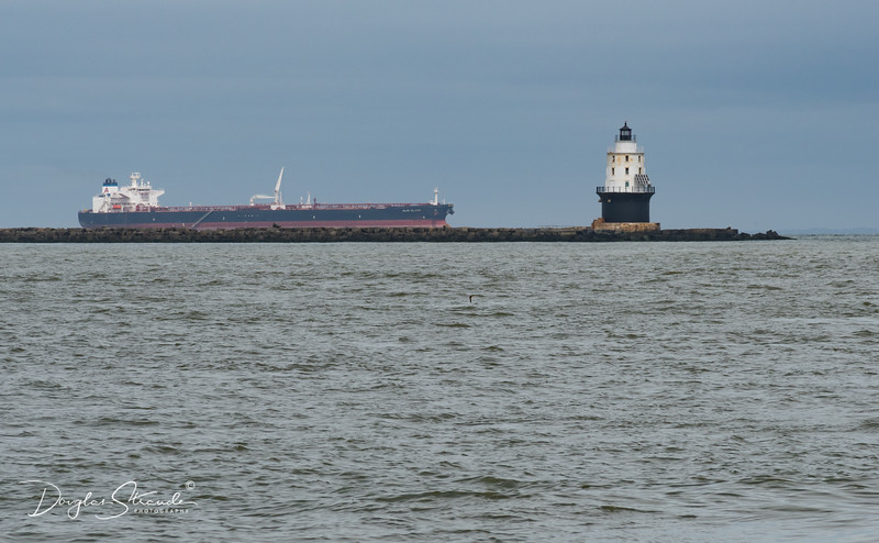 Distant ship with the Harbor Refuge Lighthouse