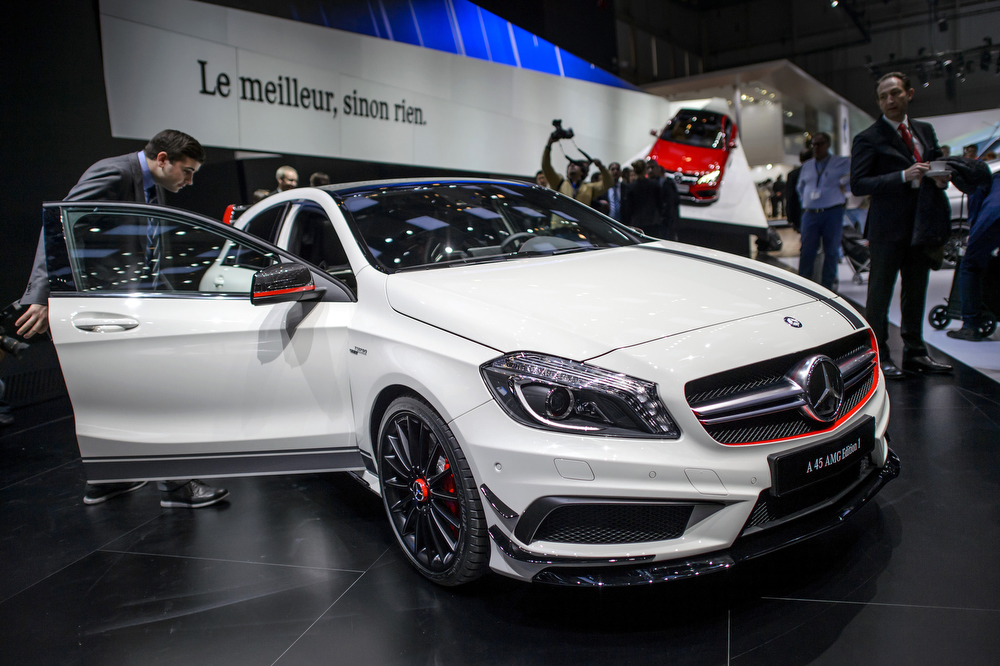 . The new Mercedes Benz A 45 AMG edition is displayed in World Premiere at the German car maker\'s booth during the 83rd Geneva Motor Show on March 5, 2013 in Geneva. The Geneva International Motor Show opened its doors to the press under a dark cloud, with no sign of a speedy rebound in sight for the troubled European market. The event, which is considered one of the most important car shows of the year, will again be heavily marked by the crisis in Europe after an already catastrophic year in 2012.  FABRICE COFFRINI/AFP/Getty Images
