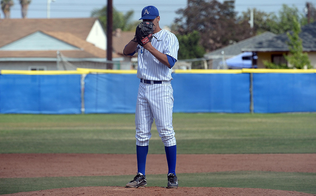 . in the first inning of prep baseball game at Bishop Amat High School in La Puente, Calif., on Tuesday, May 6, 2014. (Keith Birmingham Pasadena Star-News)
