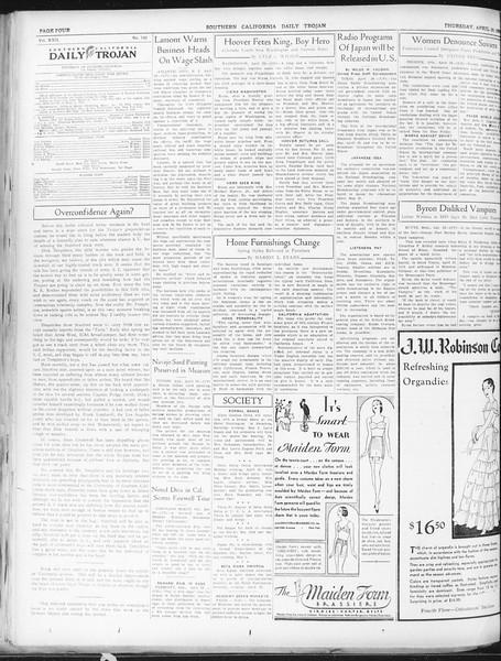 Daily Trojan, Vol. 22, No. 133, April 30, 1931