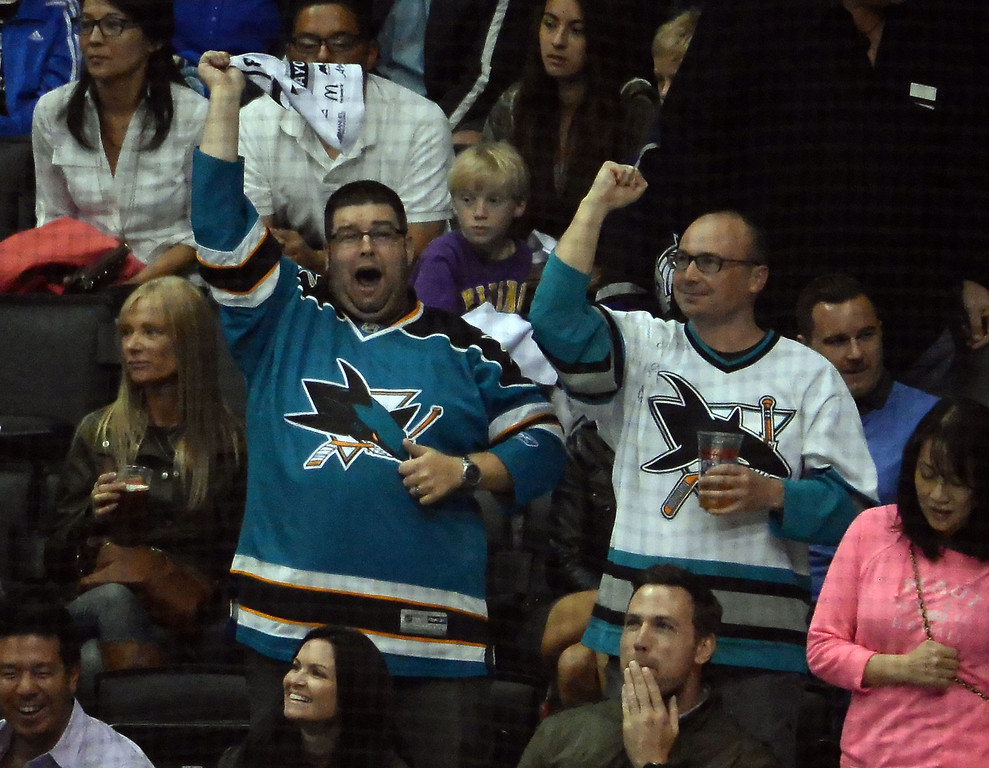 . San Jose Sharks fans react after a goal against the Los Angeles Kings during the first period in Game 4 of an NHL hockey first-round playoff series at Staples Center in Los Angeles on Thursday, April, 24  2014.  (Keith Birmingham Pasadena Star-News)