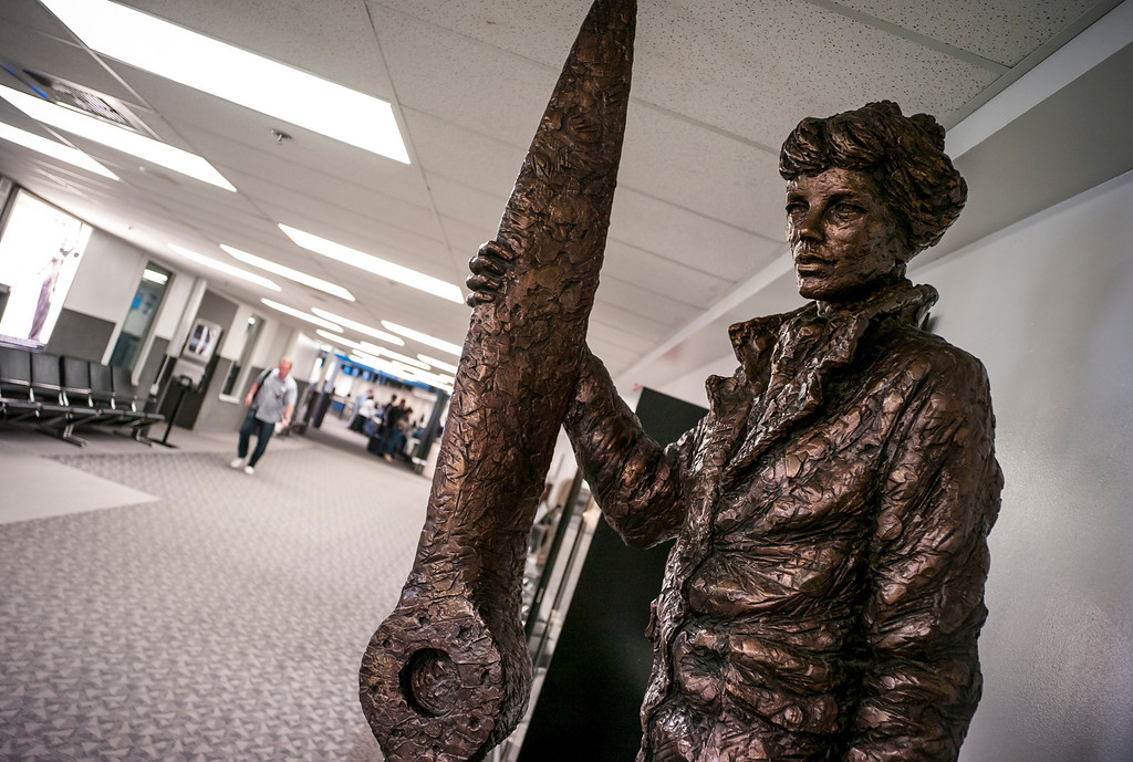 . A bronze of Amelia Earhart greets Passengers at the Bob Hope airport in Burbank, CA Tuesday, March 11, 2014.  (Photo by David Crane/Los Angeles Daily News)