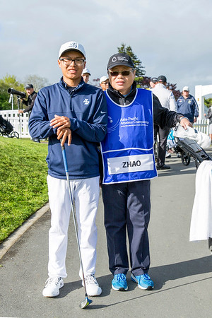 Nathan Zhao from Guam and his caddy on the 1st tee on Day 1 of competition in the Asia-Pacific Amateur Championship tournament 2017 held at Royal Wellington Golf Club, in Heretaunga, Upper Hutt, New Zealand from 26 - 29 October 2017. Copyright John Mathews 2017.   www.megasportmedia.co.nz