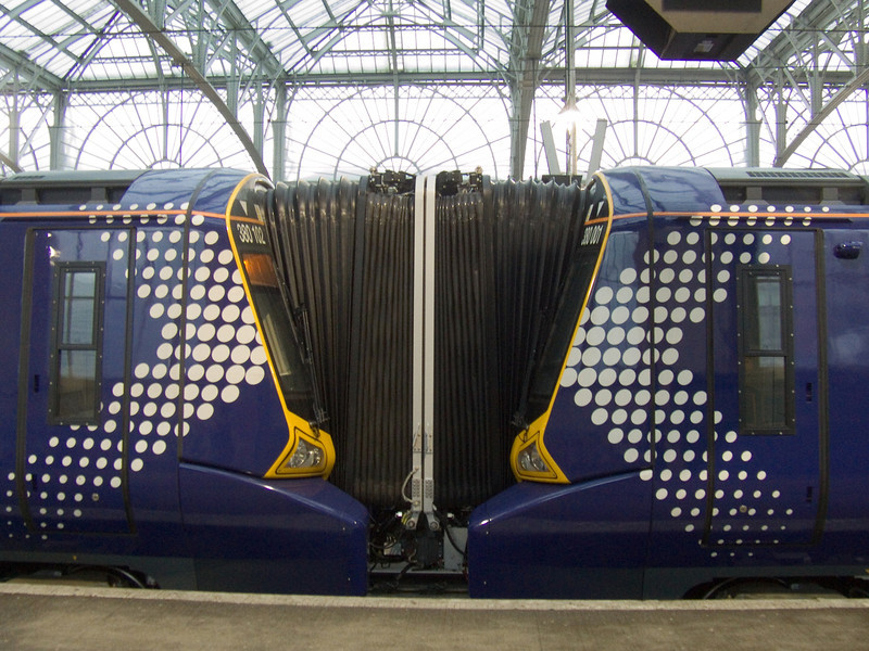 Gangway connection in place between 380001 and 380102 at Glasgow Central