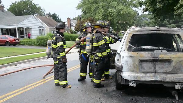 Wantagh F.D. Car Fire Wantagh Ave c/s Miller Place 8-14-12
