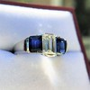 2.83ctw Vintage Emerald Diamond and Sapphire Trilogy Ring 18