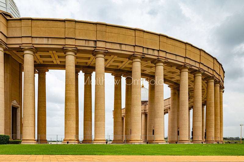 Basilica of Our Lady of Lady of Peace, Basilique Notre Dame de la Paix Yamoussoukro Ivory Coast Cote d'Ivoire. Columns of one of the colonnade of the basilica.,