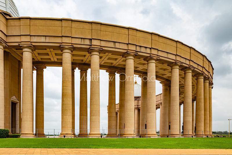 Basilica of Our Lady of Lady of Peace, Basilique Notre Dame de la Paix Yamoussoukro Ivory Coast Cote d'Ivoire. Columns of one of the colonnade of the basilica.,