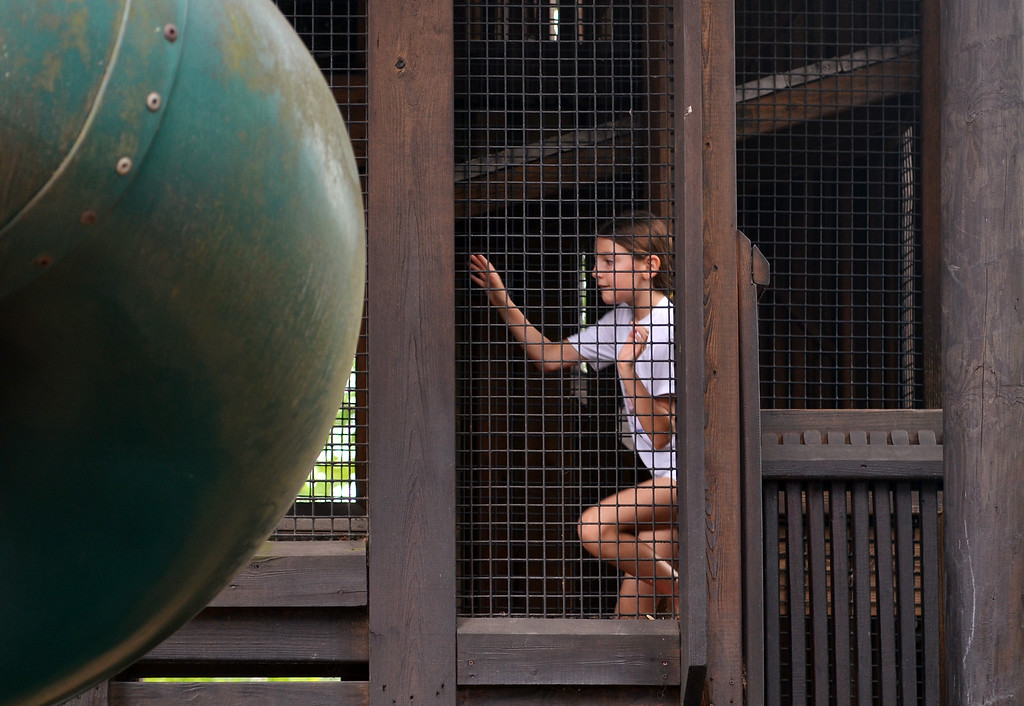 . Giulia  from Flourtown climbs the stairs for a trip downs the slide at the Park-Sci Playground during a trip to Parkside Place in Upper Gwynedd with her father and sister Giada.    Monday,  July  21, 2014.   Photo by Geoff Patton