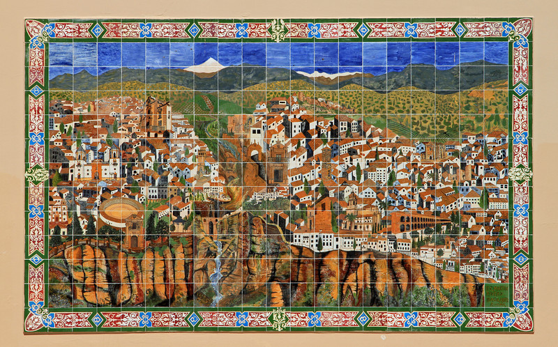 Tile mosaic showing a street map of Ronda.
