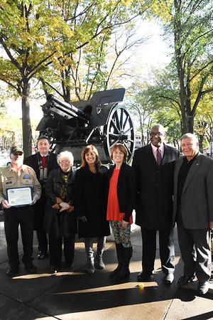 City re-dedicates historic cannon at Washington Square Park. 11/9/2017