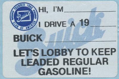 Buick Club of America leaded gas sticker