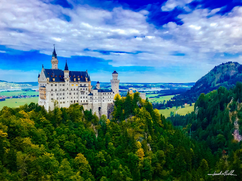 Neushwanstein Castle (Disney Castle) with Lake Foggensee in the distance
