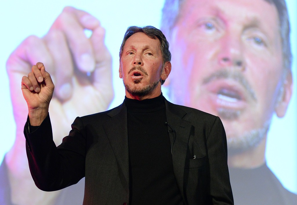 . Larry Ellison, CEO of Oracle Corporation, speaks during the New Economy Summit 2014 in Tokyo, Japan, on April 9, 2014. More than 1,000 business leaders, entrepreneurs, businessmen and students took part in the two-day forum. Ellison on Sept. 18, 2014, stepped down as chief executive of Oracle, handing off the helm of the successful technology company he co-founded in 1977, the company announced. Ellison, who recently turned 70 years old, will be replaced as CEO by in-house executives Safra Catz and Mark Hurd. Ellison will continue to have a hand in the California company\'s operations as chief technology officer and executive chairman of the board.      (Toru Yamanaka/AFP/Getty Images)