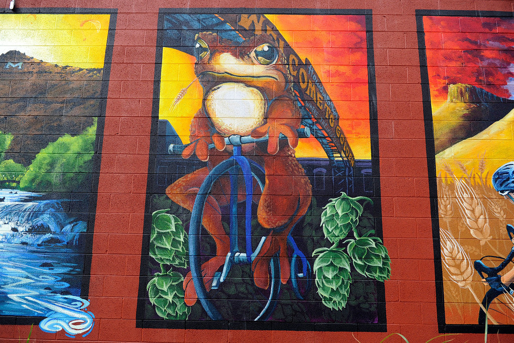 . GOLDEN, CO - AUGUST 23: Murals decorate the outer wall of Mountain Toad Brewing on August 23, 2013, in Golden, Colorado. (Photo by Anya Semenoff/YourHub)