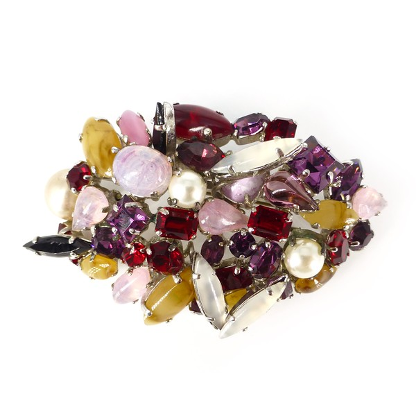 Vintage 1962 Christian Dior Purple Pink Glass Pearl Cluster Brooch