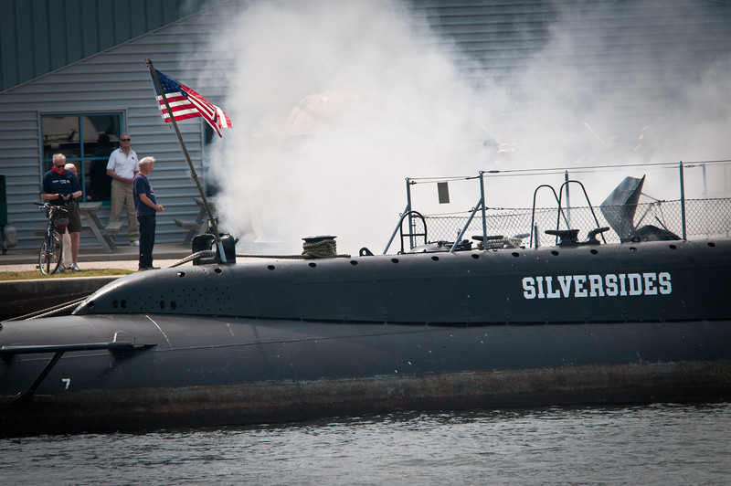 WWII era USS Silversides fires up the diesels.