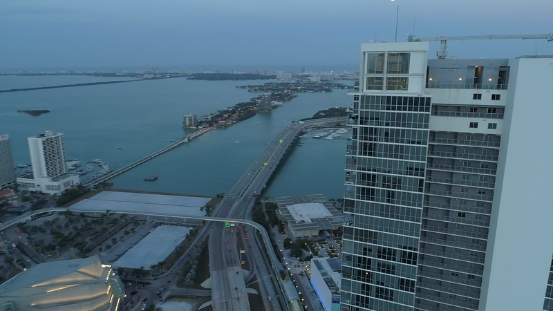 Aerial reveal Downtown Miami American Airlines arena stadium drone footage