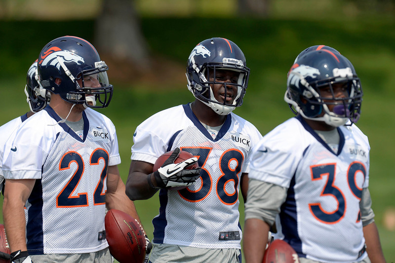 . Jacob Hester (22) Montee Ball (38) and C.J. Anderson (39) RB\'s of the Denver Broncos run through drills during the last day of minicamp June 13, 2013 at Dove Valley. (Photo By John Leyba/The Denver Post)