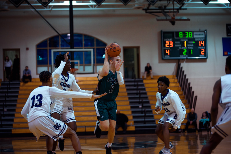 Holy Family Boys Varsity Basketball vs. Brooklyn Center, 12/5/19: Nick Hendler '20 (5)