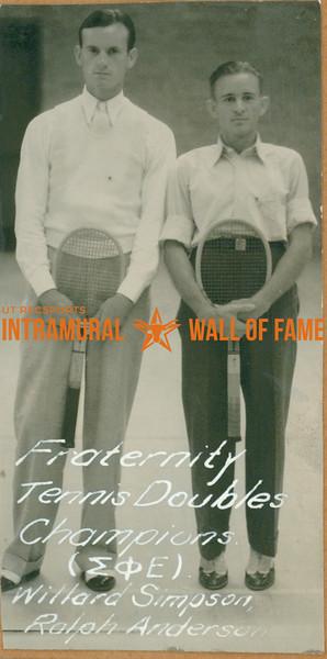 TENNIS Fraternity Doubles Champions  Sigma Theta Epsilon  Willard Simpson & Ralph Anderson