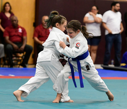 7/21/2018 Mike Orazzi | Staff Mackenzie Dunn and Josephina Fox during the Nutmeg Games Judo held at New Britain High School Saturday morning.