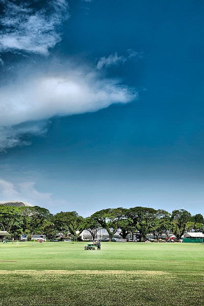 Moving the lawn of Singapore Cricket Club