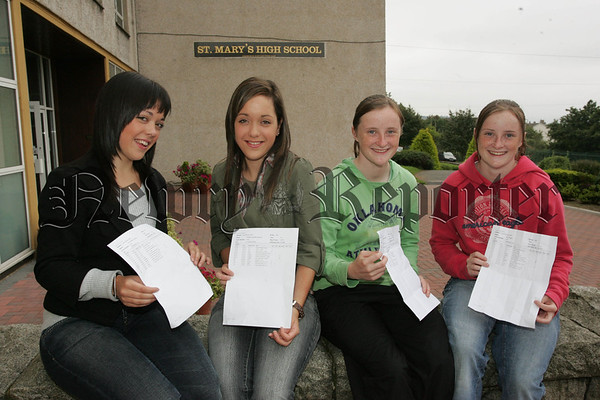 Pictured are twins Richella and Riona Canavan along with Sinead and Orla Fegan pupils at St Mary's High School Newry who recieved their G.C.S.E. results on Thursday last. 07W35N6