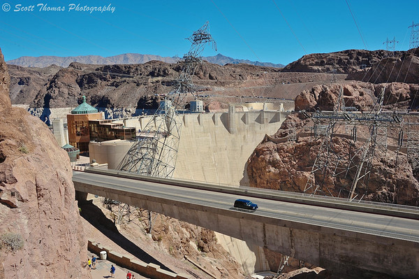 The Hoover Dam complex photographed from the Visitor Parking Garage near Boulder City, Nevada.