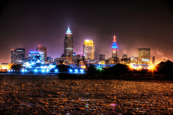 Downtown Cleveland Winter  Late Night
