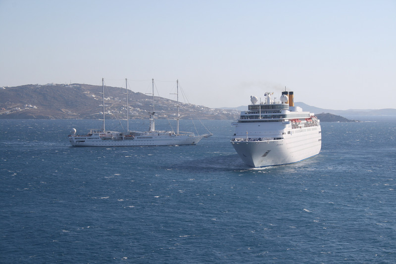 M/S COSTA ROMANTICA offshore Mykonos with WIND SPIRIT.