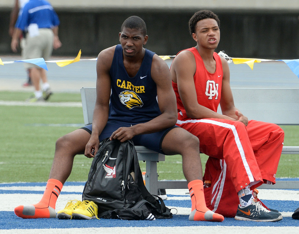 . Carter\'s Eric Moore after competing in the division 2 high jump during the CIF Southern Section track and final Championships at Cerritos College in Norwalk, Calif., on Saturday, May 24, 2014.   (Keith Birmingham/Pasadena Star-News)