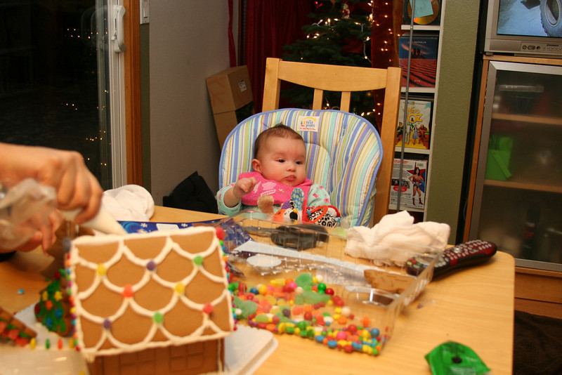 Helping with the gingerbread house