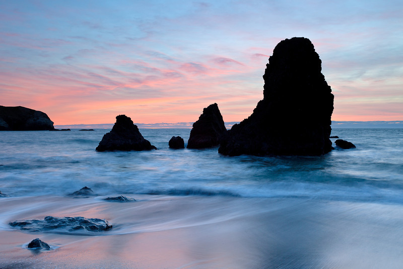 A colorful sunset at Rodeo Beach, just north of San Francisco in the Marin Headlands