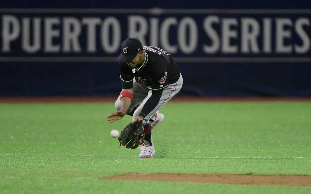 . Cleveland Indians\' infielder Francisco Lindor catches a hit during the seventh inning of the final match of a two-game Mayor League Series against the Minnesota Twins at Hiram Bithorn Stadium in San Juan, Puerto Rico, Wednesday, April 18, 2018. (AP Photo/Carlos Giusti)