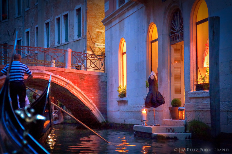 Evening Gondola ride in Venice.